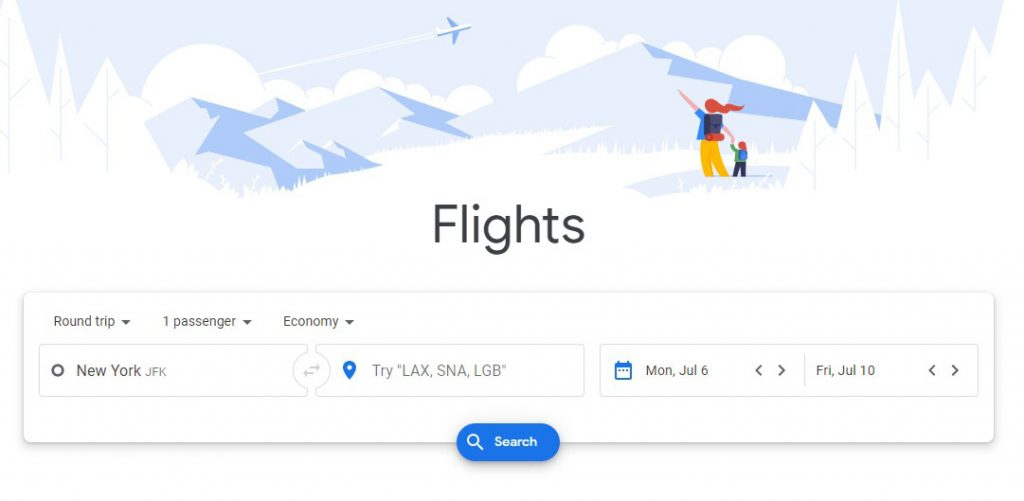 Google Flights to identify cheap airline tickets