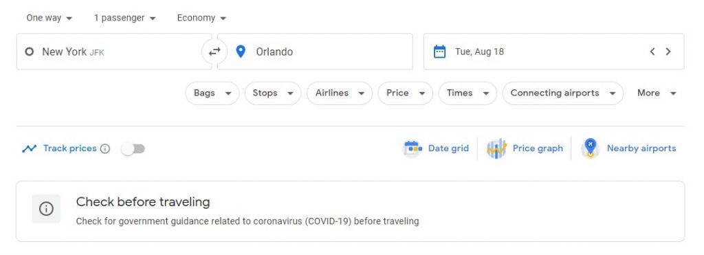 How to track flights on Google flights