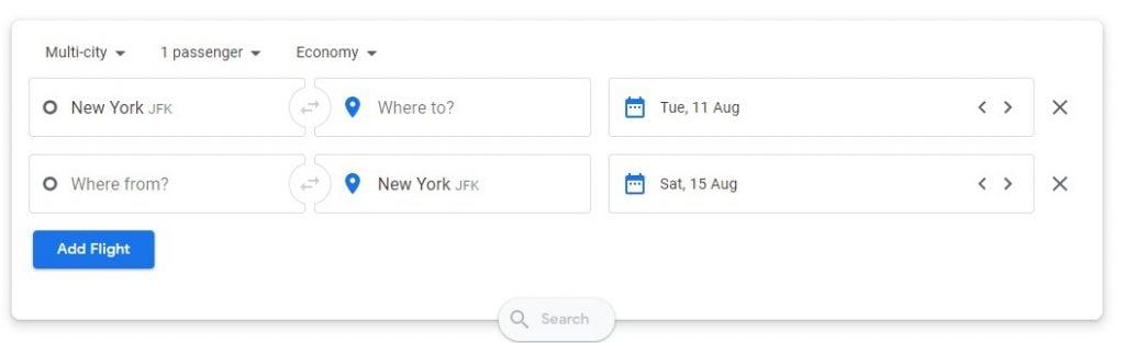 Multi city flights google