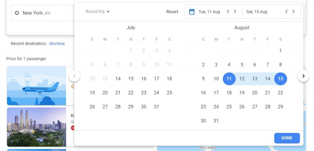 Select month and date